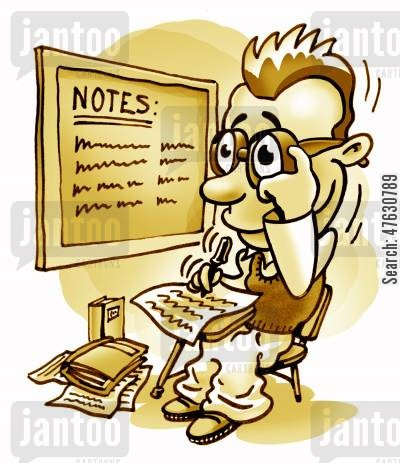taking notes cartoon humor: Happy Student.