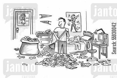dirty laundry cartoon humor: Student rakes leaveslaundry in dorm room.