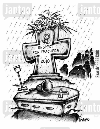 plot cartoon humor: Respect for Teachers Tombstone