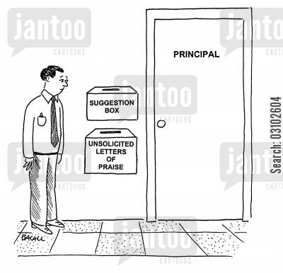 egotistic cartoon humor: Suggestion box and a box for 'Unsolicited letters of praise.'