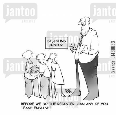 teacher shortages cartoon humor: 'Before we do the register..can any of you teach English?'