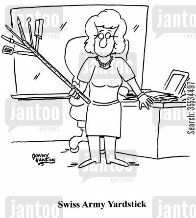 measuring stick cartoon humor: Teacher with Swiss Army Yardstick