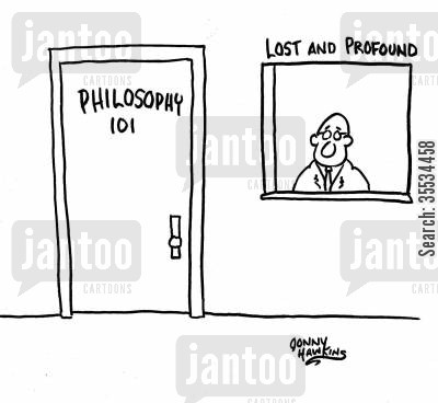 college majors cartoon humor: Philosophy class door is next to window: 'Lost and Profound'