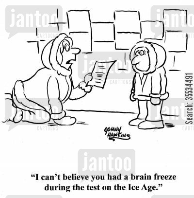 schoolwork cartoon humor: Eskimo mom to kid: 'I can't believe you had a brain freeze during the test on the Ice Age.'