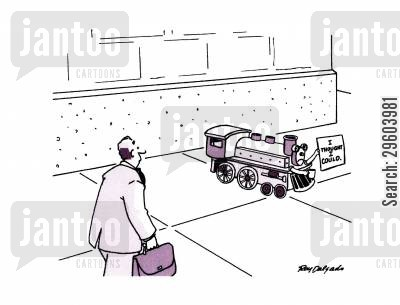 optimism cartoon humor: The Little Train: 'I thought I could.'