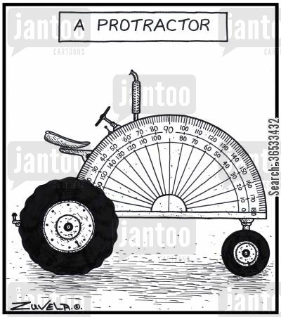 degrees cartoon humor: A Protractor.