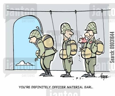 officer material cartoon humor: 'You're definitely officer material Earl.'