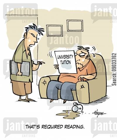 reading lists cartoon humor: 'That's required reading' - University Tuition.