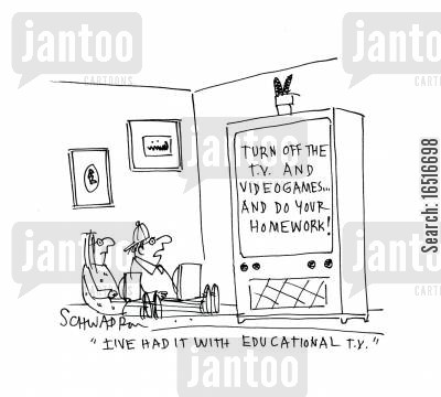educational tv cartoon humor: 'I've had it with educational TV.'