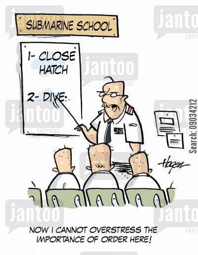 military instruction cartoon humor: Now I cannot overstress the importance of order here!