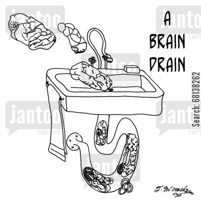 clogged drain cartoon humor: A Brain Drain