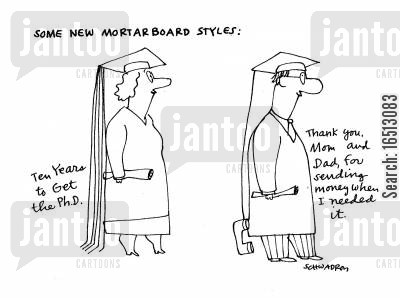 send cartoon humor: Some New Mortarboard Styles.