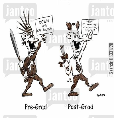 conformist cartoon humor: Pre-graduate and post-graduate student.