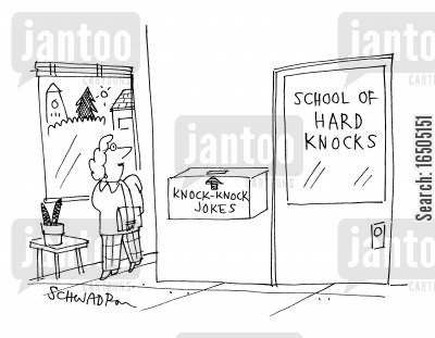 knock knock cartoon humor: School of hard knocks: Mail box 'Knock-knock jokes'