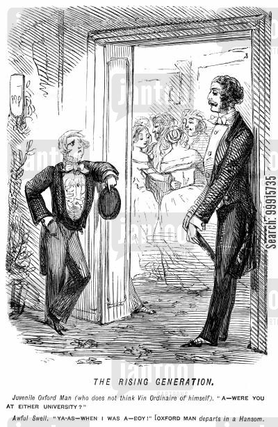 pomposity cartoon humor: Pompous young oxford man asking someone whether he was 'at either university'