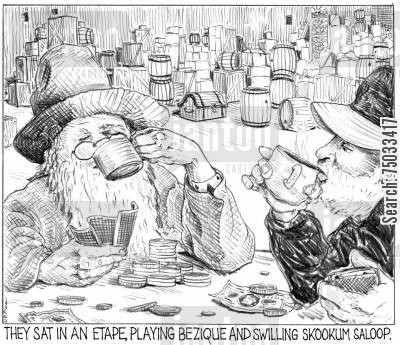 poker players cartoon humor: 'They sat in an etape, playing bezique and swilling skookum saloop.'