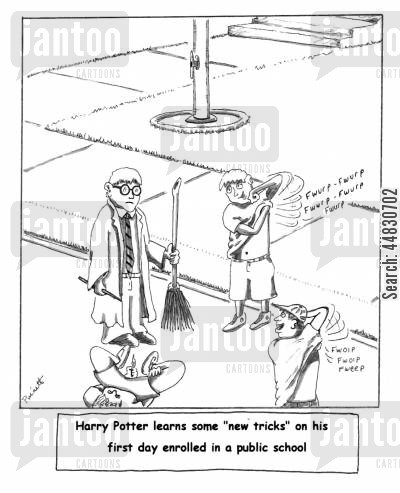 public schools cartoon humor: Harry Potter learns some 'new tricks' on his first day enrolled in a public school.