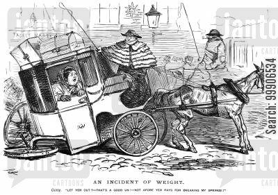 cost cartoon humor: A carriage collapsing under the weight of a passenger.