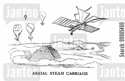 aviation cartoon humor: The Aerial Steam Carriage
