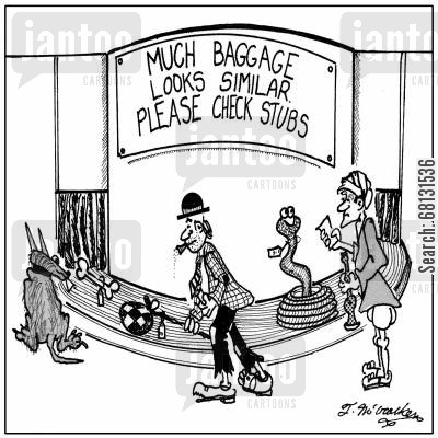fakir cartoon humor: Much baggage looks similar. Please check stubs.