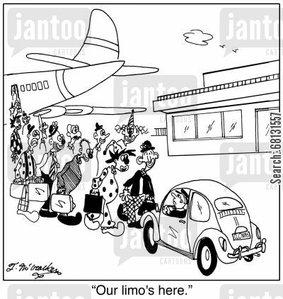 airport scanner cartoon humor: 'Our limo's here.'