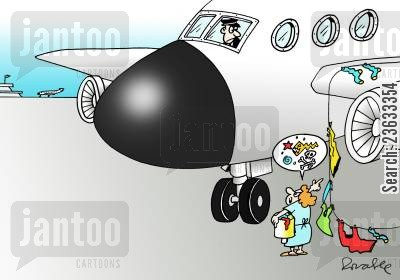 clean clothes cartoon humor: Airplane Catches Woman's Washing.