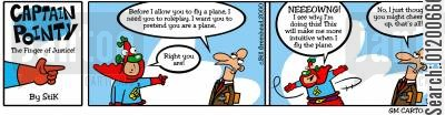 intuitive cartoon humor: Captain Pointy No.7 - Pretending to fly a plane