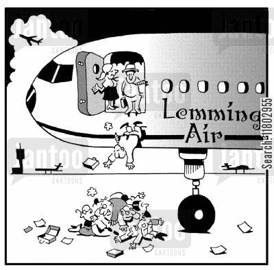 airways cartoon humor: Lemming Air.