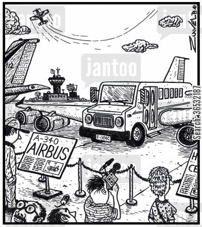 airbus cartoon humor: A-340 Airbus.