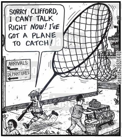 departures cartoon humor: 'Sorry Clifford, i can't talk right now! I've got a plane to catch!' A hunter trying to physically catch a plane with a big net.