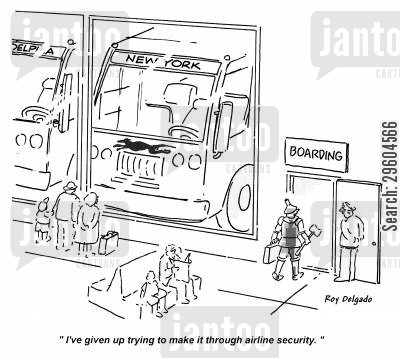 metal detectors cartoon humor: 'I've given up trying to make it through airline security.'