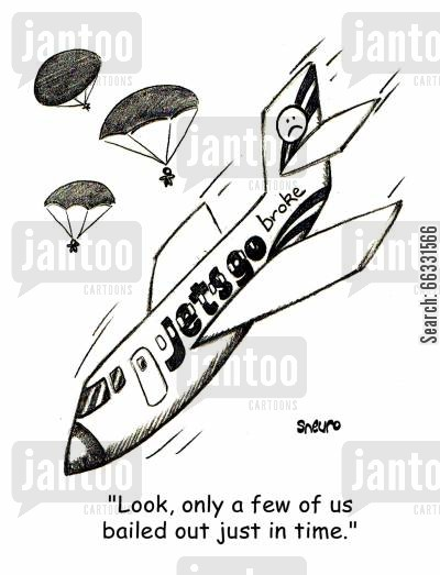 aviation cartoon humor: Jetsgo out of business.