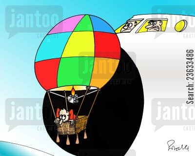 hot air balloon cartoon humor: Surprise