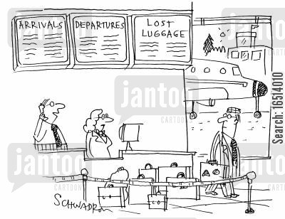 flies cartoon humor: Arrivals, Departures and Lost Luggage.