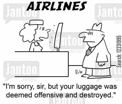 deem cartoon humor: I'm sorry, sir, but your luggage was deemed offensive and destroyed.