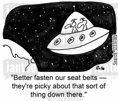 driving laws cartoon humor: 'Better fasten our seat belts — they're picky about that sort of thing down there.'