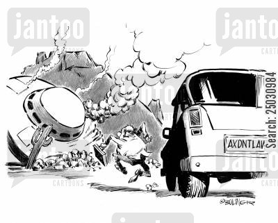 accident lawyer cartoon humor: Crashed saucer, man running, vanity license plate reads 'AXDNTLAW'