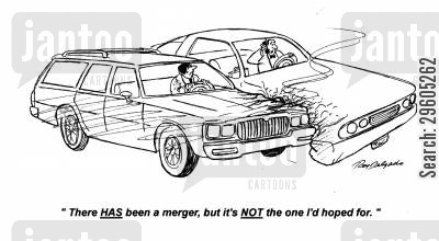 merger cartoon humor: 'There HAS been a merger, but it's NOT the one I'd hoped for.'