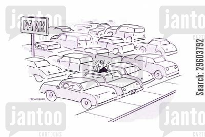 trapping cartoon humor: Stuck in the car park.