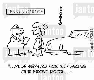 bad driving cartoon humor: '...Plus $847.93 for replacing our front door....'
