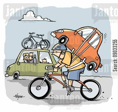 bike rack cartoon humor: Car carrying bikes, biker carrying car.