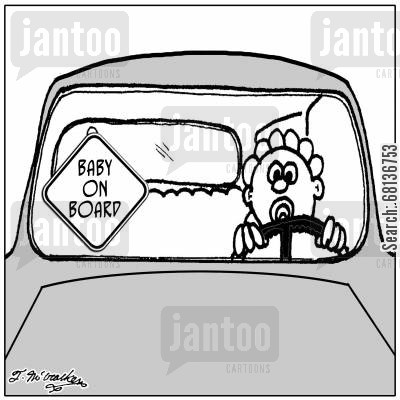 child seats cartoon humor: Baby on Board