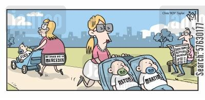 baby names cartoon humor: 'My other baby is Mercedes'