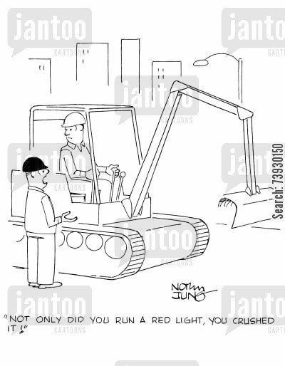 driving laws cartoon humor: 'Not only did you run a red light, you crushed it!'