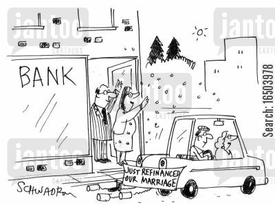 financed cartoon humor: Car with 'Just refinanced our marriage'.