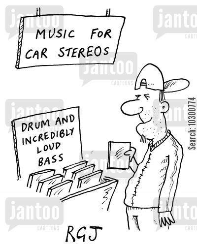 electronic music cartoon humor: Music for car stereos