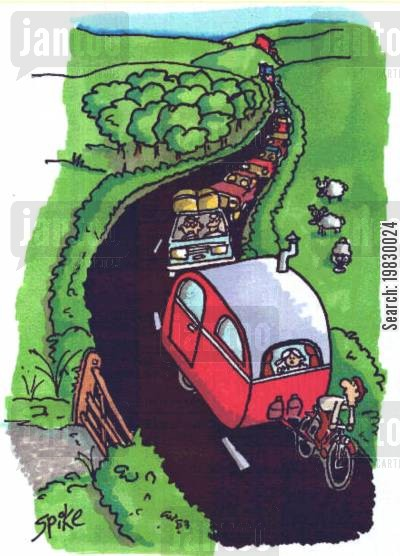 country lanes cartoon humor: Caravan towed by bike.