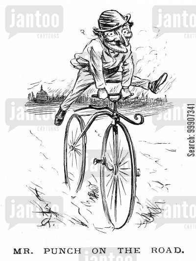 bicycles cartoon humor: Mr. Punch cycling
