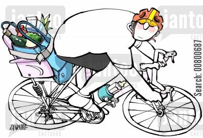 bike riding cartoon humor: Cyclist with groceries.
