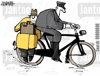 bike riding cartoon humor: Man riding on back of bike.